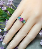 Pink Sapphire and Swarovski Crystal Handmade Ring