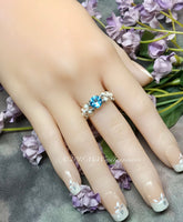 Sky Blue Topaz and Crystal Pearl Handmade Ring, in SS or 14K GF, Made to Order