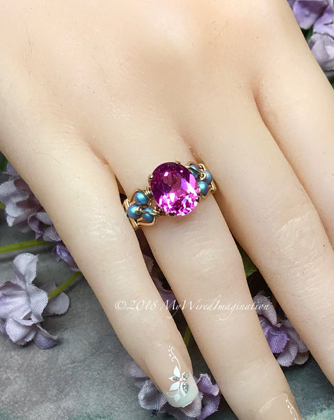Hot Pink Sapphire & Blue Pearl Handmade Ring, Lab Created Sapphire Swarovski Pearl Ring