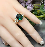 Handmade Ring, Hydrothermal Green Quartz & Pearl Ring, Dark Emerald Green Size 6.5