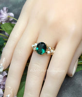 Hydrothermal Green Quartz & Pearl Ring, Dark Emerald Green Handmade Ring, Made to Order