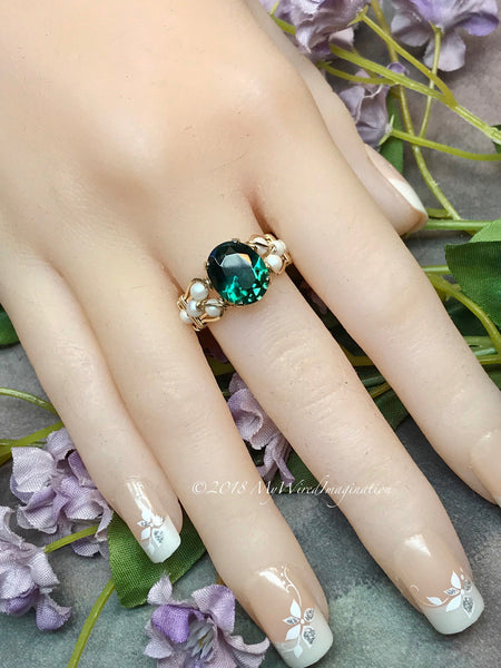 Hydrothermal Green Quartz & Pearl Ring, Dark Emerald Green Hand Crafted Ring