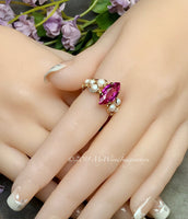 Hot Pink Sapphire and Swarovski Pearl Handmade Ring, Made to Order