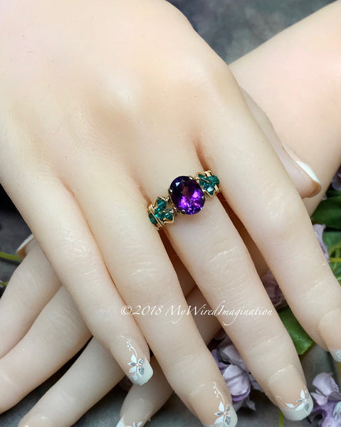 AAA Moroccan Amethyst Handmade Ring, Unique Engagement Ring
