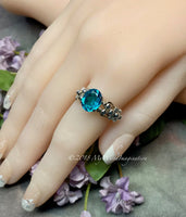 Paraiba Tourmaline Ring, Handmade Sterling Silver Ring US Size 7.5