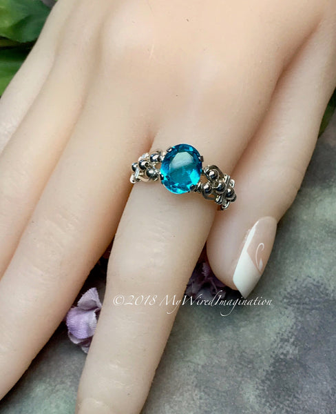 Paraiba Tourmaline Ring, Handmade 14K GF or Sterling Silver Ring, Made to Order