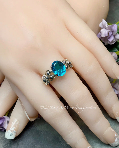 Paraiba Tourmaline Ring, Handmade 14K GF or Sterling Silver Ring