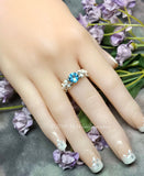 Sky Blue Topaz and Crystal Pearl Handmade Ring