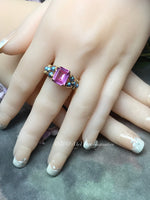 Blue Crystal Pearl & Hot Pink Sapphire Handmade Ring 14K GF, US Size 8