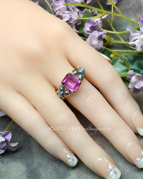 Pink Sapphire & Blue Pearl Handmade Ring Sterling Silver or 14K GF