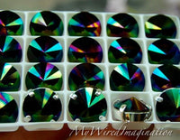 Swarovski Rainbow Dark, 10mm or 12mm Rivoli 1122, Genuine Swarovski in Setting