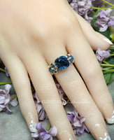 Swarovski Denim Blue Crystal, Handmade Sterling Silver Ring US Size 5.5