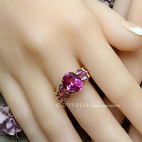 Hot Pink Sapphire Handmade Ring, with Blue Pearl or Rose Pink Swarovski, Made to Order