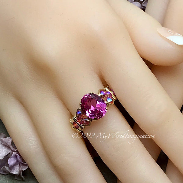 Hot Pink Sapphire Handmade Ring, with Blue Pearl or Rose Pink Swarovski