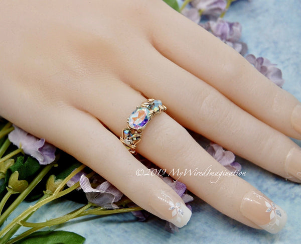 Mercury Mystic Topaz, Handmade Ring, Opalescent Mystic Topaz Ring, in 14K Gold US Size 5
