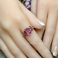 Octagon Pink Sapphire Handmade Ring, with Blue Pearl or Pink Swarovski, Made to Order