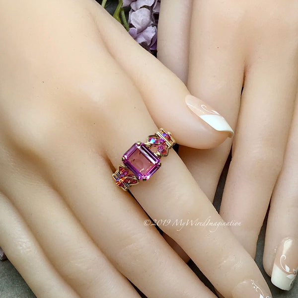 Octagon Pink Sapphire Handmade Ring, with Blue Pearl or Pink Swarovski