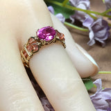Bright Pink Sapphire Handmade Ring, Lab Created Pink Sapphire in 14K Gold US Size 5.5