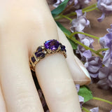 Royal Amethyst AAA Handmade Ring, Dark Purple Amethyst Ring, in 14K Gold US Size 5.5