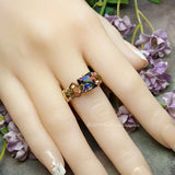 Square Vitrail Medium Vintage Crystal, Handmade Ring, Dark Vitrail Medium in 14K GF US Size 7