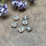 Silver or Gold Plated Settings, 6 pcs for 34ss/7mm Round Rhinestones or Gemstones