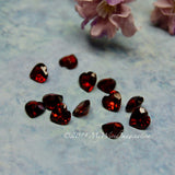 Genuine Garnet Hearts, 12 Pieces, 6X6mm Heart Shape Faceted Garnets, January Birthstone