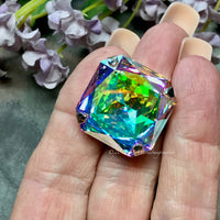 Genuine Swarovski Crystal, 23mm Crystal AB Art 4675, Large Crystal Square Octagon with Setting