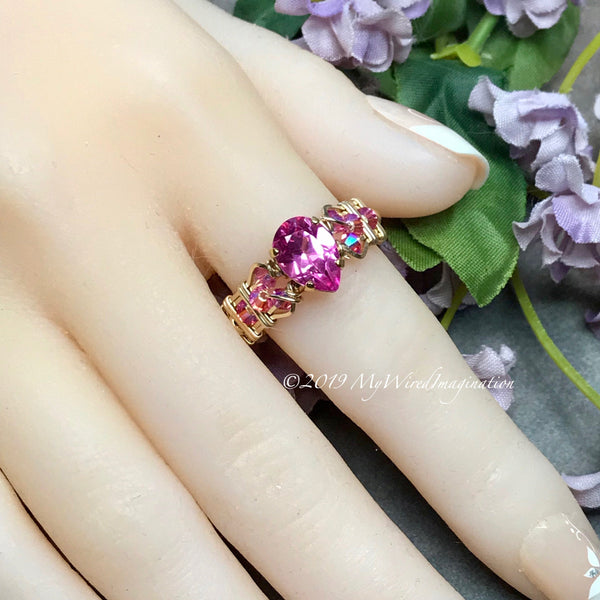 Stunning Hot Pink Sapphire Handmade Ring, Lab Created Sapphire in 14K GF, US Size 7