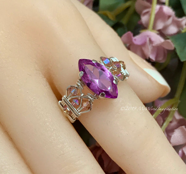 Marquise Alexandrite in Sterling Silver, Wideband Handmade Ring, Color Change Gemstone Ring, US Size 8