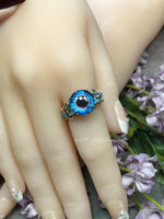 Handmade 'Eye' Ring, Glass Eyeball Ring, Unique Handmade Statement Ring, 14K GF, US Size 7.5