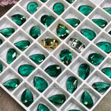 2 Pcs Hydrothermal Green Quartz  10x7mm Pear Shape, Emerald Green Faceted Gemstone with Setting