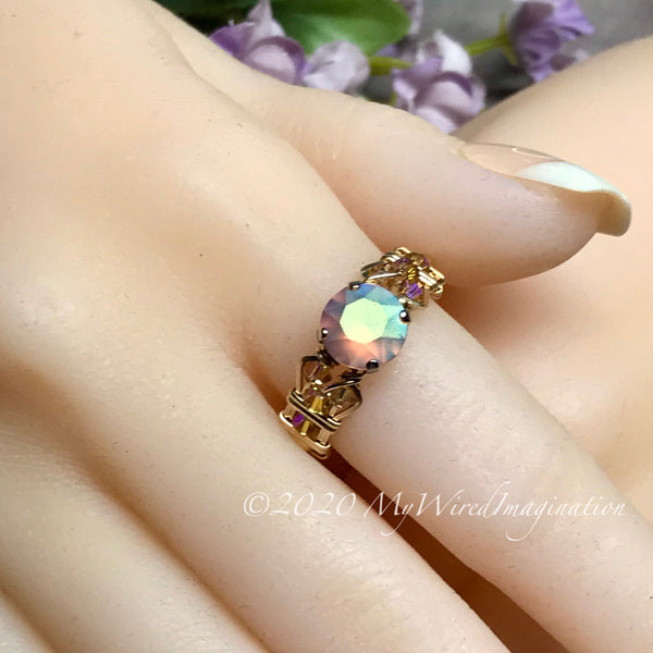 Swarovski Pastel Blush Rose AB Crystal Handmade Ring, in 14K GF US Size 7.5
