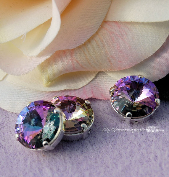 12mm Sew On Swarovski Crystal Vitrail Light Rivoli 1122 With Prong Setting