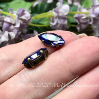 2 Pcs, Tanzanite, Genuine Swarovski 15x7mm Navette, with Setting