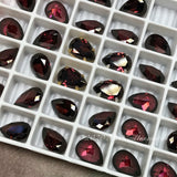 2 Pcs Rhodolite Garnet CZ, 10x7mm Pear Shape, Purple Pink Red Color Faceted Gemstone with Setting