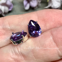 2 Pcs Alexandrite 10x7mm Pear Shape, Lab Grown Color Change, Faceted Gemstone, With Setting