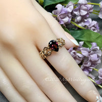 Rhodolite Garnet CZ Handmade Ring, Pink, Purple Red Garnet, January Birthstone