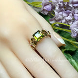 Swarovski Olivine 8mm Square, Handmade Crystal Ring, Dark Olive Green, 14K GF US Size 7.5