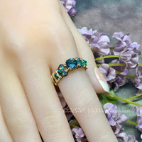 Petite Rainbow Mystic Topaz, Handmade Ring, Peacock Blue Mystic Topaz Ring, in 14K Gold or Sterling Silver