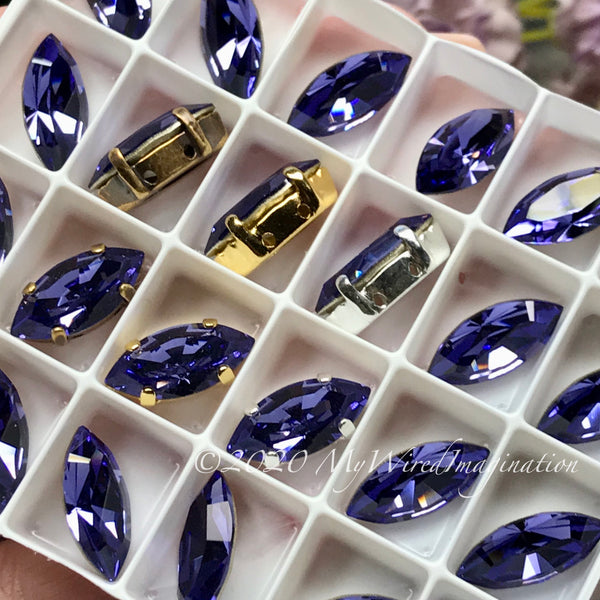 2 Pcs, Tanzanite, Genuine Swarovski 15x7mm Navette, with Setting, Tanzanite, December Birthstone, Bead Embroidery