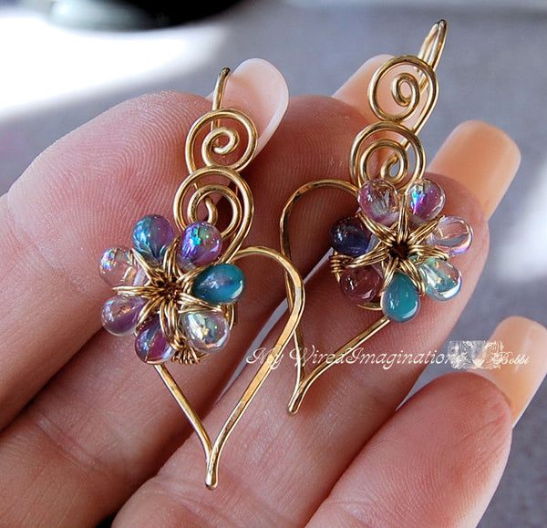 Charming Hearts 2 Earrings, Wire Wrap Earring Tutorial