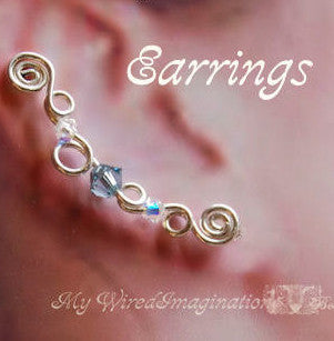 Ear Climbers, Ear Pins, Ear Sweeps, Beginner Wire Jewelry Tutorial, Earrings for Pierced Ears