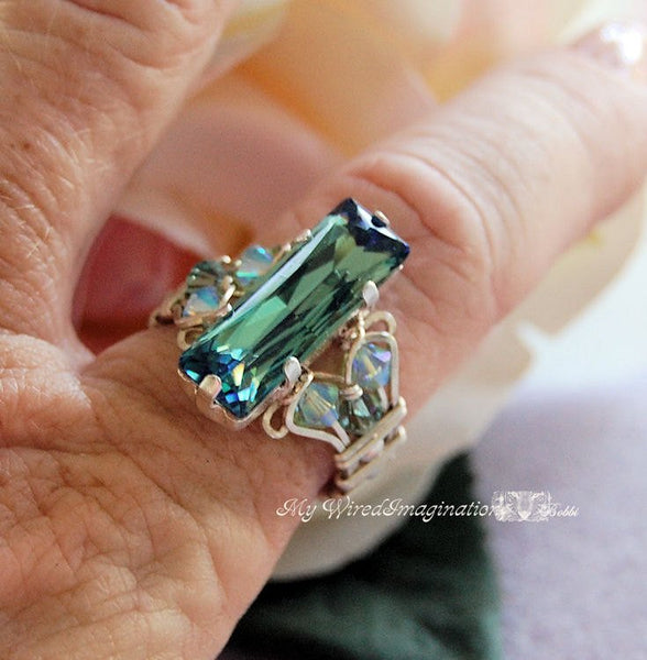 Erinite Green, Swarovski Crystal Handmade Ring, Sterling Silver, US Size 7.5