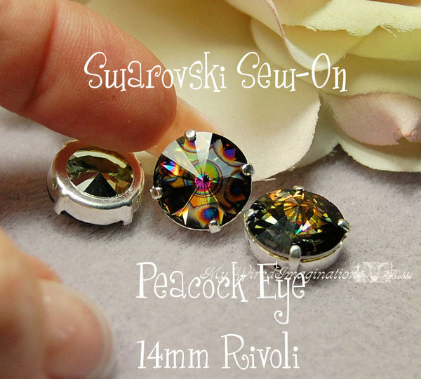 Peacock Eye Rivoli 1122, 14mm Swarovski Crystal With Setting