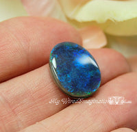Genuine Opal Cabochon, Stunning Jewelry Component, Deep Ocean Blue Opal