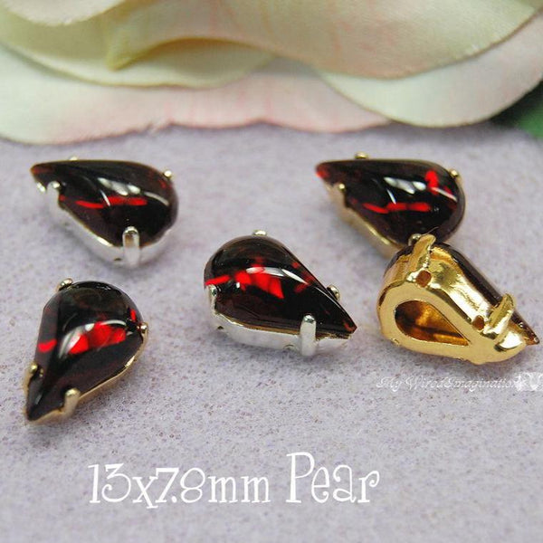 Dark Ruby Red Glass Cabochon, 13 x 7.8mm Pears With Setting, Choose 2 or 4 Pieces