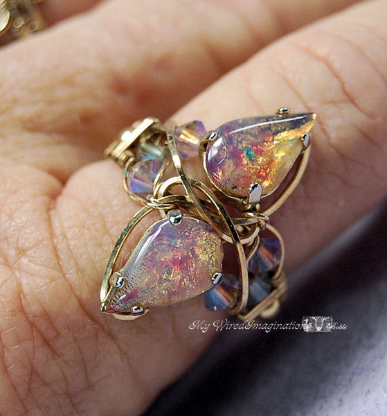 Marcella Crystal Ring 2,  Wire Wrap Ring Tutorial