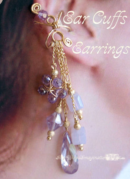 Ear Cuffs Earrings Tutorial, Wire Wrap Jewelry Tutorial, Earrings for Pierced and Non-Pierced Ears