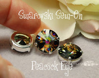 Peacock Eye Rivoli 1122, 12mm Swarovski Crystal With Setting, Crystal Sew On