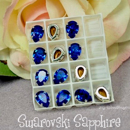 Sapphire Blue, Vintage Swarovski Crystal, 2 or 4 pcs, 10x7mm Pear 4320, With Setting